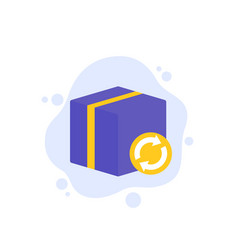 Parcel return icon with box art vector