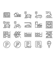 parking line icon set vector image