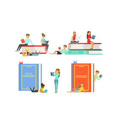 people reading books set tiny students sitting vector image