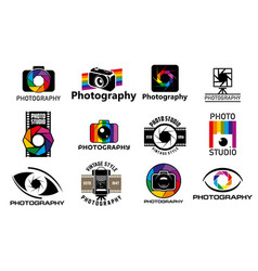 Photo camera icons photography studio vector