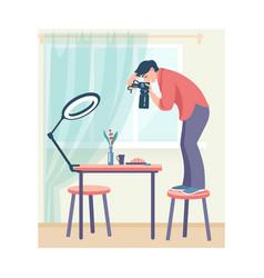 Photo studio cartoon woman taking pictures vector