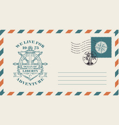 Postal envelope on the theme of travel with stamp vector