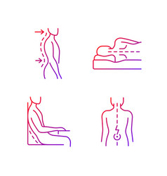 Postural dysfunction gradient linear icons set vector