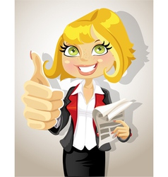 Pretty business woman with business papers showing vector