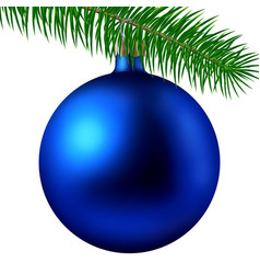 Realistic blue matte christmas ball or bauble with vector