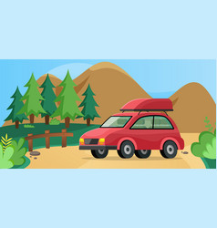 Red family car for driving into forest transport vector