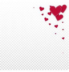 Red heart love confettis valentines day corner m vector