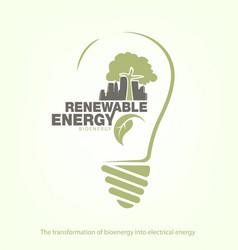 renewable energy of bioenergy in bulb vector image