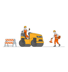 Roadwork and asphalt paving workers characters in vector