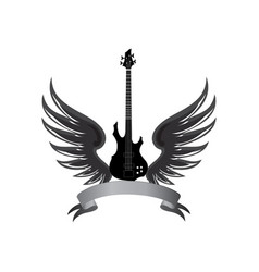 rock music label winged guitar musical sign vector image