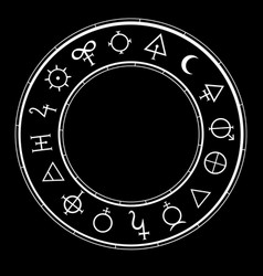 Round frame with alchemical magic signs vector