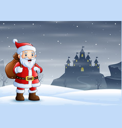 Santa claus standing in snow with a bag gif vector