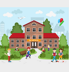 Schoolboys and schoolgirls going to school vector