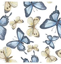 Seamless pattern Watercolor butterfly vector image