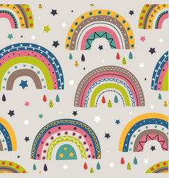 seamless pattern with colorful rainbows vector image