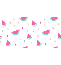 Seamless watermelon pattern fruit slices vector