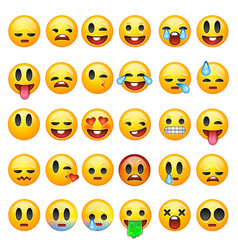Set emoticons emoji isolated on white vector