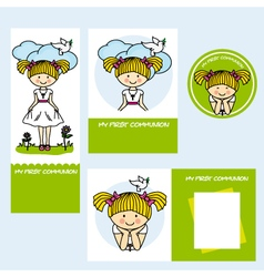Set first communion girl vector