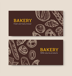 set horizontal banner templates with delicious vector image
