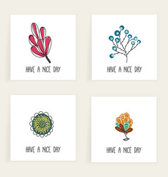 Set of square cards hand drawn creative abstract vector