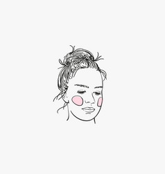 Sketch girls head with pink cheeks serious vector
