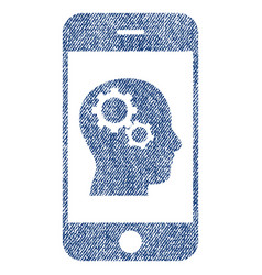 Smartphone intellect gears fabric textured icon vector