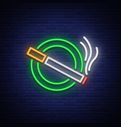smoking area neon sign neon symbol a luminous vector image