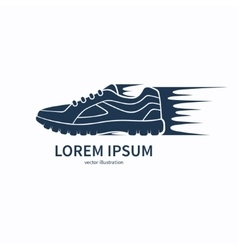 Speeding running shoe icon symbol or logo vector