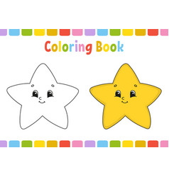 Star coloring book for kids cheerful character vector