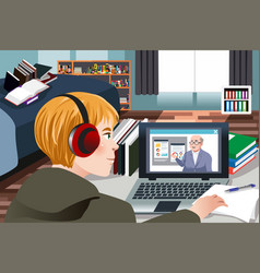 Student learning online at home vector