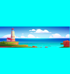 summer landscape with lighthouse on sea coast vector image
