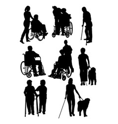 the activity disabled people silhouettes vector image