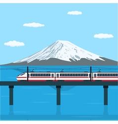 train on bridge vector image