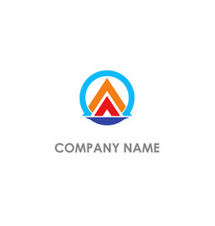 triangle pyramid round business logo vector image
