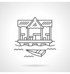 Tropical jetty flat line icon vector image