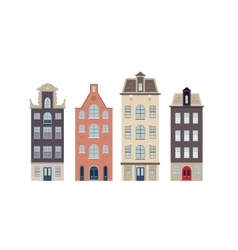 Urban european houses on the white background vector image