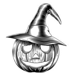 Vintage friendly halloween pumpkin vector