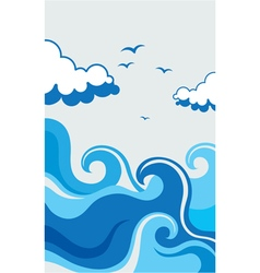 waves summer logo vector image
