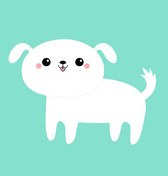 white dog puppy icon funny face cute kawaii vector image