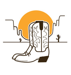 wild west with cowboy boots on american desert vector image