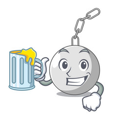 With juice wrecking ball isolated on a mascot vector