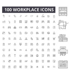 workplace editable line icons 100 set vector image