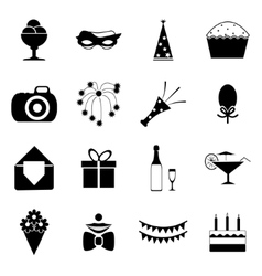 Birthday Party Celebrate Isolated Silhouette Icons vector image