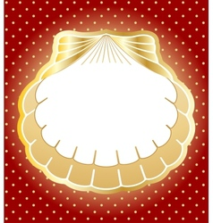 Gold frame made of pearl shells background vector image