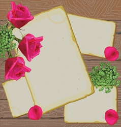 old letters and notes with bright roses on wood vector image vector image