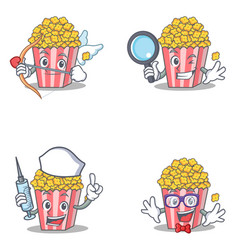 Set of popcorn character with cupid detective vector