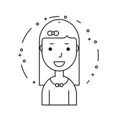 Smiling girl character minimalism cartoon flat vector