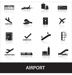 airport icons set eps10 vector image vector image