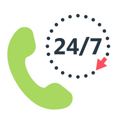call 24 7 flat icon support service and website vector image