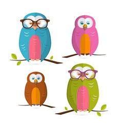 Owls Set Isolated on White Background vector image